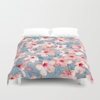 bedding Duvet Covers featuring Shabby Chic Hibiscus Patchwork Pattern in Pink & Blue by micklyn