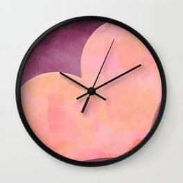 Pantone Conch Shell Pink 15-1624 Heart in Corner Purple Watercolor Abstract Art Wall Clock