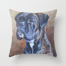 brindle BOXER dog art portrait from an original fine art painting by L.A.Shepard Throw Pillow