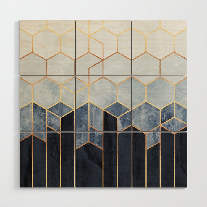 Soft Blue Hexagons Wood Wall Art By Elisabethfredriksson