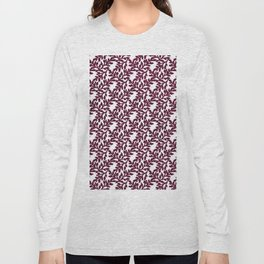 Abstract burgundy white vector floral leaves pattern Long Sleeve T-shirt