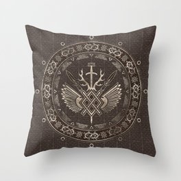 Gungnir - Spear of Odin Brown Leather and gold Throw Pillow