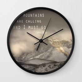 The Mountains are calling, and I must go.  John Muir. Vintage. Wall Clock