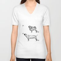 motivation V-neck T-shirts featuring Pug Motivation by Brendon Smile