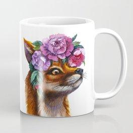 Red Fox and Peonies Coffee Mug