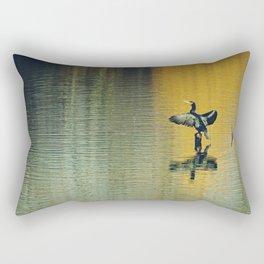 Great Cormorant bird with a beautiful river reflection Rectangular Pillow