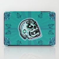 sarcasm iPad Cases featuring Sarcasm skull on pillow by NENE W