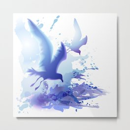 Watercolor sea ocean waves seascape with realistic birds, gulls, abstract water. Realism. Art. Metal Print