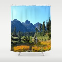 Mount Herman with Highwood Lake Shower Curtain