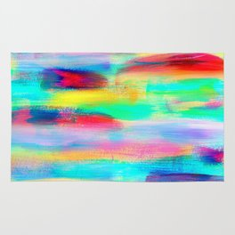 BE POSITIVE #2 Colorful Abstract Painting Lines Pattern Fluorescent Modern brushstrokes Rug