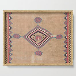 Blush Tan and Pink Medallion // 19th Century Authentic Colorful Baby Blue Cowboy Accent Pattern Serving Tray