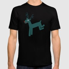 Reindeer-Teal MEDIUM Black Mens Fitted Tee