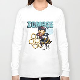 Zombee Zombie Bee Halloween for Beekeeper Apiarist Dark Light Long Sleeve T-shirt