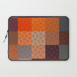 RED AND BROWN TONES - BLOCKS AND WEAVE PATTERN Laptop Sleeve