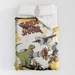 T-Rex VS Shark  Duvet Cover