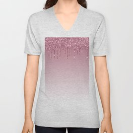 Pink Dripping Glitter Unisex V-Neck