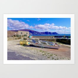 Moored boat at Purteen Harbour Art Print