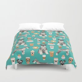 Schnauzer coffee dog breed pet art pure breed cafes pupuccino Duvet Cover