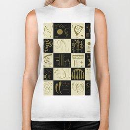 Kandinsky - Black and Gold Pattern - Abstract Art Biker Tank