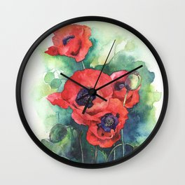 Watercolor red poppy flowers Wall Clock