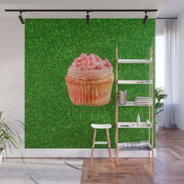 Cupcake Love | Pink Pearls on Green Sparkle Wall Mural