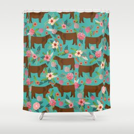 Red Angus cattle breed floral farm homestead gifts cow pattern Shower Curtain