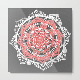 Mandala on Gray Linen Metal Print