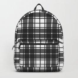 Slate Gray Modern Gingham Plaid Print Backpack