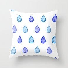 Blue raindrops Throw Pillow