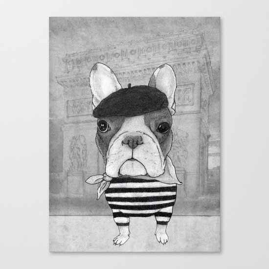 French Bulldog. (black and white version) Canvas Print