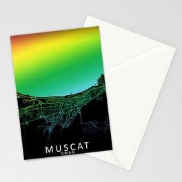 Muscat, Oman, City, Map, Rainbow, Map, Art, Print Stationery Cards