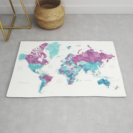 """Purple and turquoise watercolor world map with cities, """"Blair"""" Rug"""