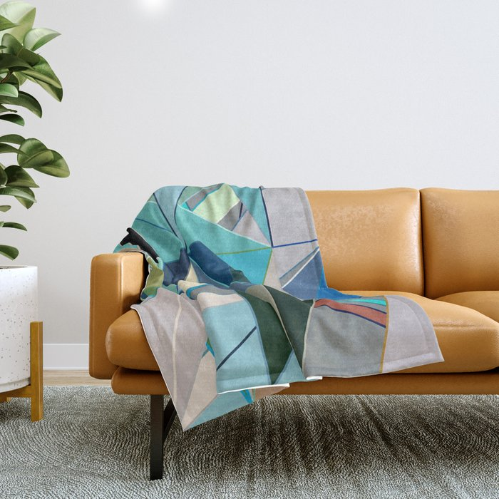 Mid-Century Modern Abstract, Turquoise and Neutrals Throw Blanket