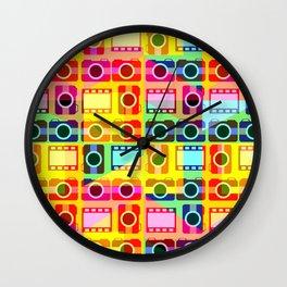 Colorful camera pattern Wall Clock