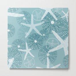 Sea Urchins and Starfish & Sand Dollars in Aqua/Blue Tones Metal Print