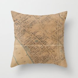 Vintage Map of Springfield MA (1851) Throw Pillow