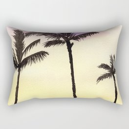 Palm Trees Sunset Watercolor Painting Rectangular Pillow