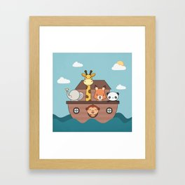 Kawaii Cute Zoo Animals On A Boat Framed Art Print
