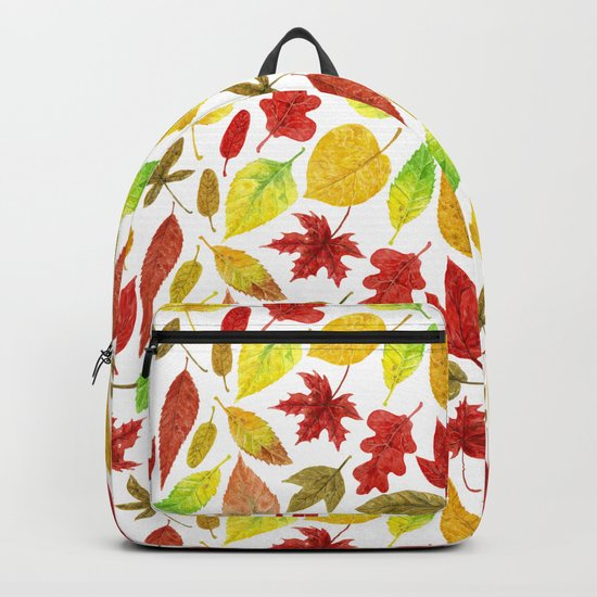 Autumn leaves watercolor white Backpack