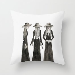 Southern Gothic Witch Coven Watercolor Throw Pillow