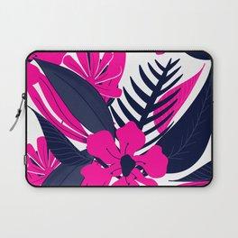 Modern tropical neon pink navy blue floral composition pattern illustration Laptop Sleeve
