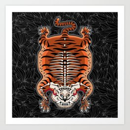 TIBETAN TIGER - SKELETON (black) Art Print