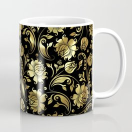 Black & Gold Foil Floral Damasks 3 Coffee Mug