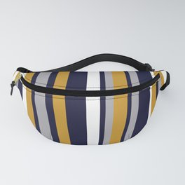 Modern Stripes in Mustard Yellow, Navy Blue, Gray, and White. Minimalist Color Block Fanny Pack
