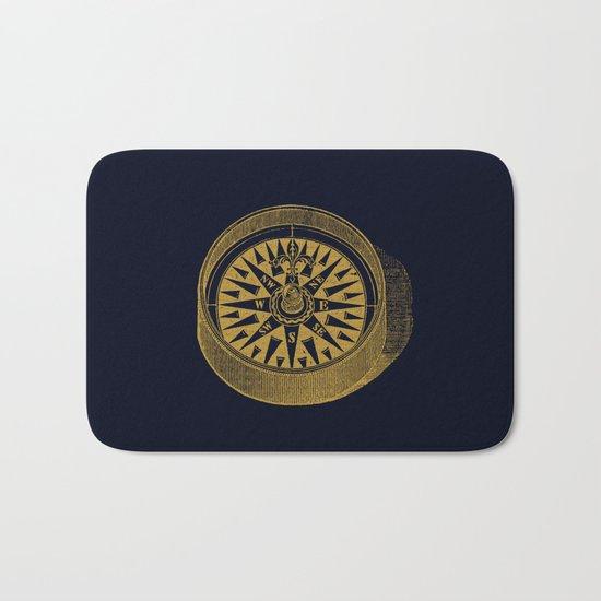 The golden compass I- maritime print with gold ornament Bath Mat
