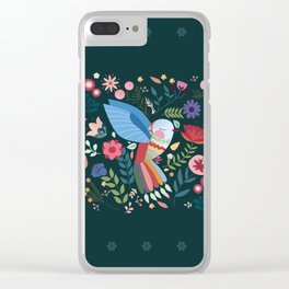 Folk Art Inspired Hummingbird With A Flurry Of Flowers Clear iPhone Case