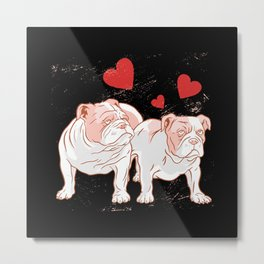 Cute Bull Dogs Couple Metal Print