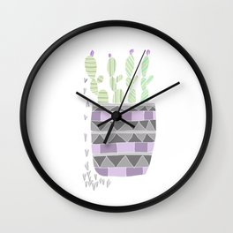 Potted Patterned Cacti Wall Clock