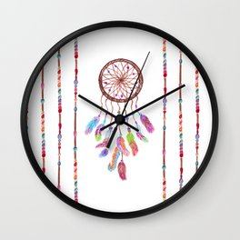 Hand Painted Watercolor Dreamcatcher Beads Feather Wall Clock