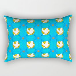 Dove on Gold Plate Pattern Rectangular Pillow